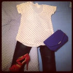 Polka dots + Rockstar jeans + Mango bag & shoes
