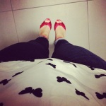 Butterflies + dark denim + red wedges